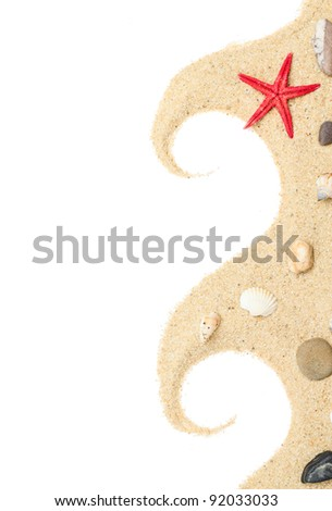 Starfish and  Shells on the Sand border design.Isolated on white. - stock photo