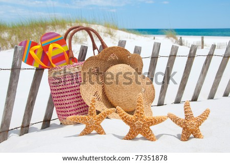 starfish collection on beach fence - stock photo