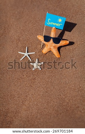 starfish family with eye glasses on the beach. Summer concept with copy space. - stock photo