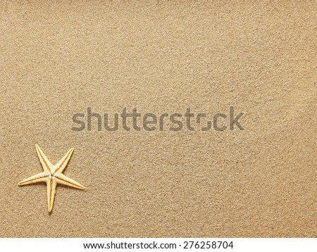 Starfish on Beach Sand. Close up - stock photo