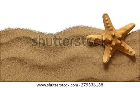 Starfish on Beach Sand. Close up - stock photo
