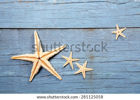 starfish on blue wooden background
