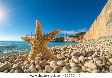 Starfish on  Porto Katsiki beach on Ionian Sea Lefkada, Greece - stock photo