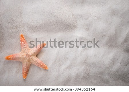 starfish on the sand with copy space for summer concept. - stock photo