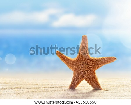 Starfish on the sandy beach at ocean background. Summer beach. - stock photo