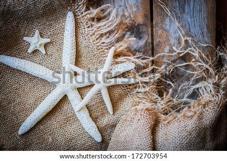 Starfish on wooden rustic background - stock photo