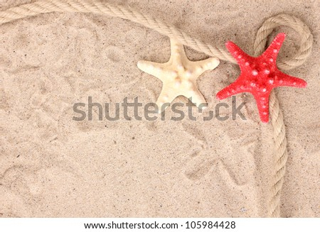 Starfishes with rope on sand - stock photo