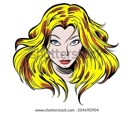 staring blonde cartoon girl illustration character - stock photo