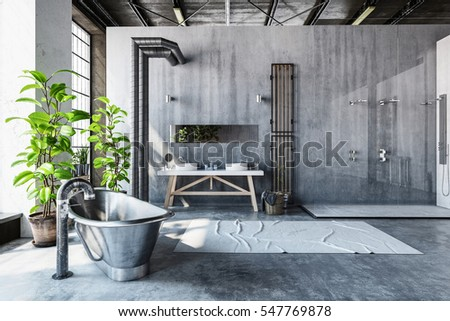 Modern bathroom interior stone wall stock photo 143503666 shutterstock - Excellent bathroom plants for fresh interior ...