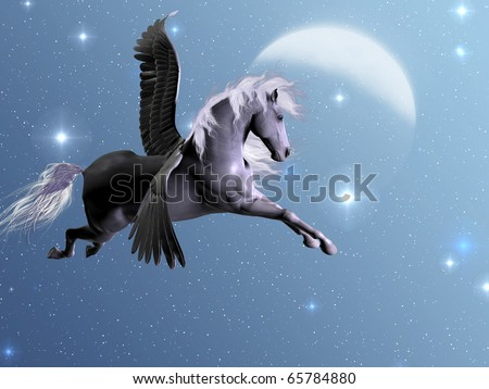 STARLIGHT PEGASUS - Silver Pegasus flies near the stars and the moon on a bright night. - stock photo