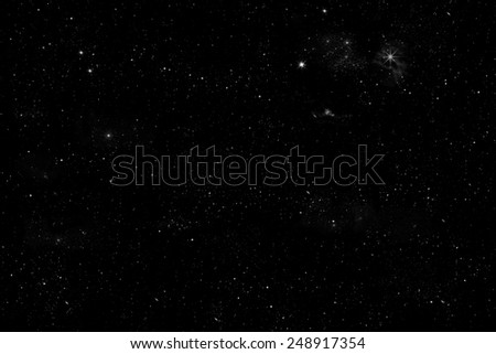 starlit sky illustration with shiny stars an little planets on black background,  - stock photo