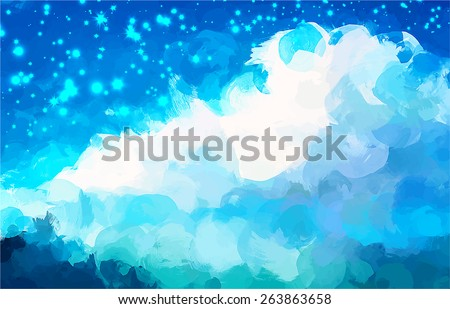 Starry clouds brush strokes background. Raster version - stock photo