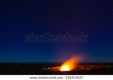 Starry night photos of erupting volcano in Hawaii Volcanoes National Park, Big Island, Hawaii. Night photos, multiple minute exposure. Noise visible at 100%.