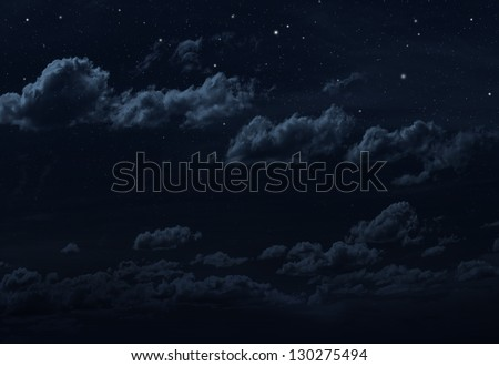 Starry night sky background. Blue colors - stock photo