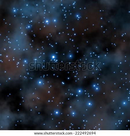 Starry night with nebulosity. - stock photo