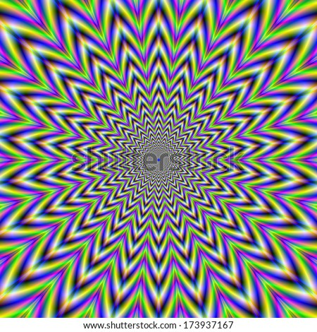 Starry Pulse /  Digital abstract fractal image with an optically challenging star design in yellow, blue, green and pink.