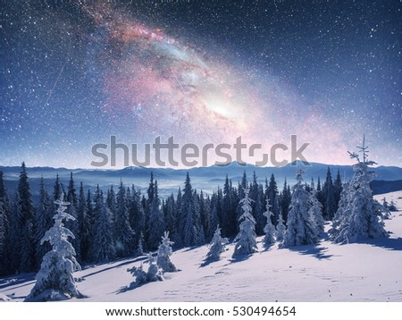 starry sky in winter snowy night. fantastic milky way in the New Year's Eve. The Milky Way is a fantastic New Year's Eve. Courtesy of NASA.