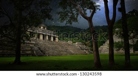 Starry sky over the ruins and pyramids in the ancient city of Palenque, Mexico - stock photo