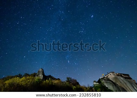 starry sky seen from Meteora, Greece - stock photo