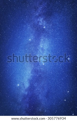 Starry sky with many stars and Milky way on the space background. - stock photo