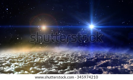 starry star night with two star planets in cloudscape - Elements of this Image Furnished by NASA