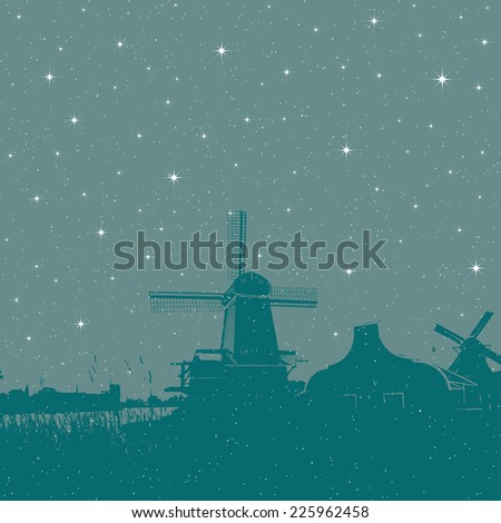 Starry winter holiday background windmills scene - stock photo