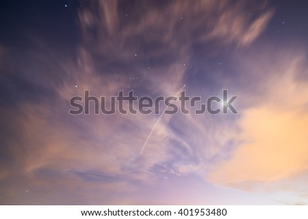 Stars and Airplane flying over Miami - stock photo