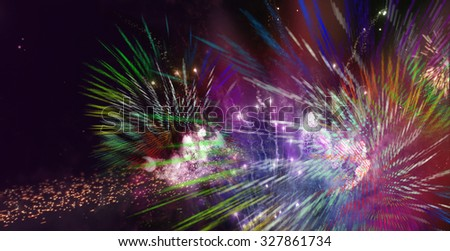 stars and lights pattern of bright sparkling colorful fireworks with colorful stars and circle shapes added