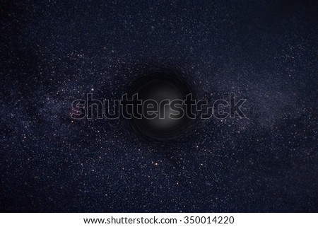 Stars and material falls into a black hole - stock photo