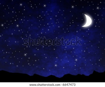 Stars and moon