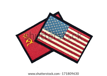 stars and stripes flag and hammer and sickle flag