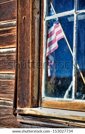 stars and stripes in the window 02 - stock photo
