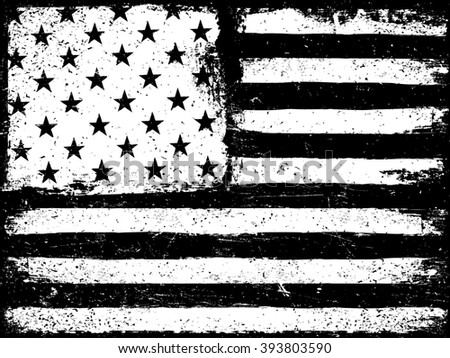Stars and stripes. Monochrome Negative Photocopy American Flag Background. Grunge Aged. Raster version. - stock photo