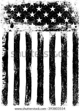 Stars and Stripes. Monochrome Photocopy American Flag Background. Grunge Aged. Raster version. - stock photo