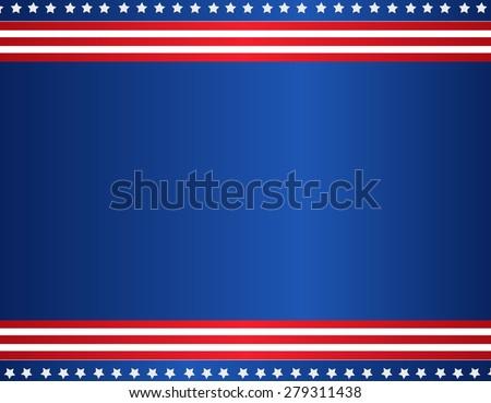Stars and stripes USA patriotic background / border - stock photo