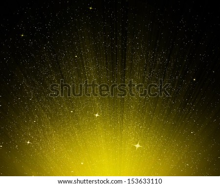 Stars and yellow night sky as background - stock photo