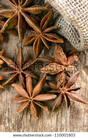 Stars anise on the wood