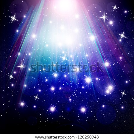 stars are falling on the background of blue luminous rays. - stock photo
