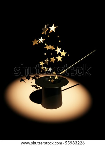 Stars from hat. 3d