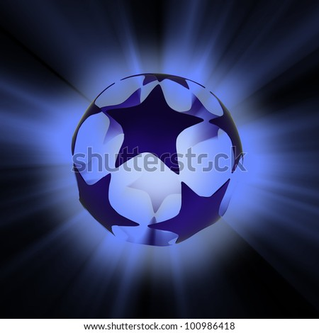 stars glowing  blue - stock photo