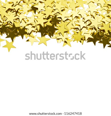 stars gold confetti , frame of the yellow brilliant small stars isolated on white background - stock photo