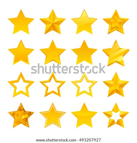 Stars icons set illustration. Assorted symbols. Golden yellow color. Good for ranking and logo design.