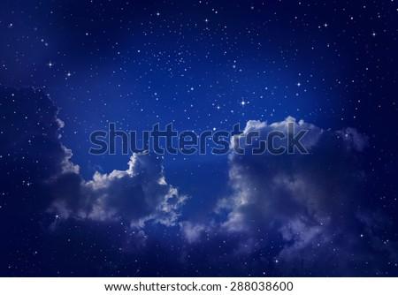Cloudy Night Sky Stars Cloudy Night Sky Stock...