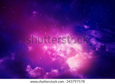 Stars in the night sky,blue and purple background. - stock photo