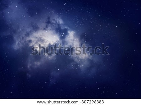 Stars in the night sky,blue background.