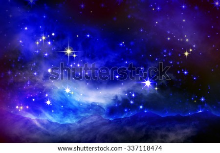 Stars in the night sky,blue background.Galaxy stars. Abstract space background. Milky Way in the mountains. - stock photo