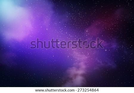 Stars in the night sky,nebula and galaxy - stock photo