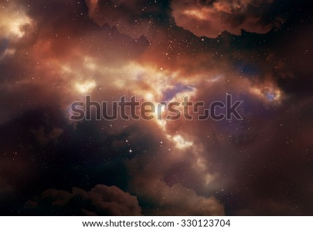 Stars in the night sky,Yellow background. - stock photo