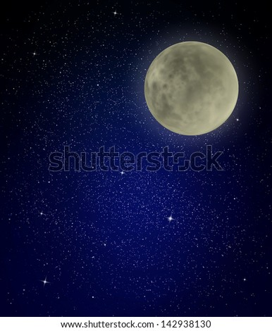 Stars, moon  and night sky as background - stock photo
