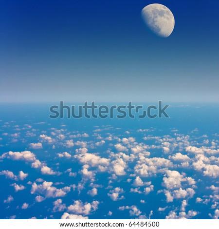 Stars Moon Glowing - stock photo